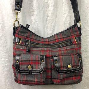 Rosette Crossbody Bag Red Gray Zippers
